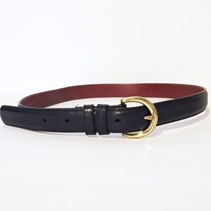 Vintage Coach black leather brass buckle belt
